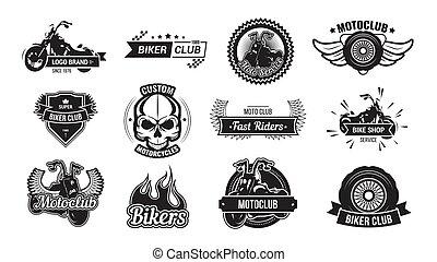 Motorcycle riders club emblem set