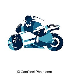 Motorcycle road racing, abstract blue vector illustration. Motorbike