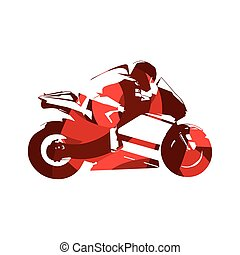 Motorcycle road racing, abstract red vector illustration. Motorbike