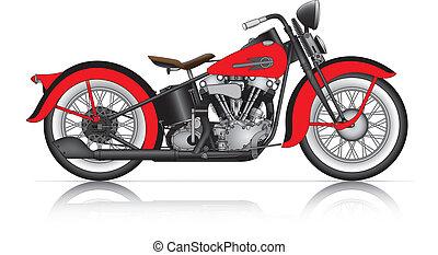 motorcycle., rojo, clásico