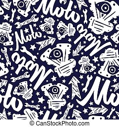 Motorcycle seamless pattern with lettering. Design for your ...