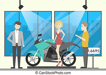 Motorcycle shop interior.