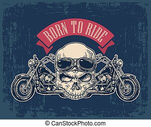 Motorcycle side view and skull with glasses. View over the...