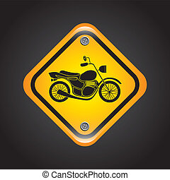 motorcycle signal over black background vector illustration