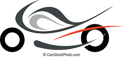Motorcycle on white background - vector isolated illustration. Can be used as logo or emblem.