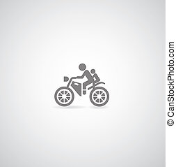 Motorcycle symbol on gray background