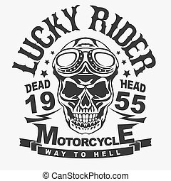 Motorcycle t-shirt graphics. Skull rider in helmet with...