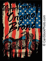 Motorcycle tee graphic with usa flag