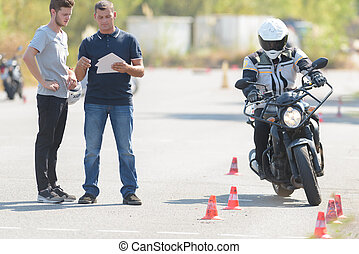 motorcycle training course in progress