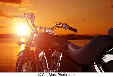 Motorcycle Traveling Concept. Motorcycle and the Sunset...