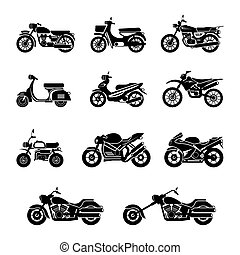 Motorcycle Types Objects Icons Set - Black and white,...
