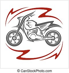 Motorcycle Vector Elements and flame on white background