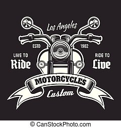 Motorcycle vector emblem with ribbon for text