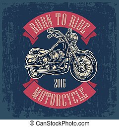 Motorcycle. Side view. Classic chopper bike in engraving style. Vector illustration isolated on white background. For web, poster, t-shirt, tattoo biker club. Isolated on dark blue vintage background