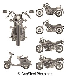 Motorcycle vector icon set isolated illustration side view flat symbol sign engine retro vintage