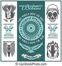 Motorcycle vector set with vintage custom logos, badges, bikers design elements.