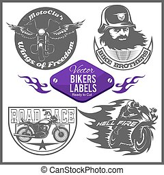 Motorcycle vector set with vintage custom logos, badges, design templates.