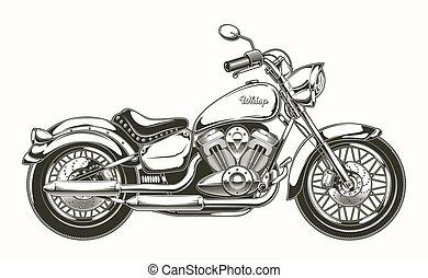 motorcycle., vendange, hand-drawn, chopper., classique