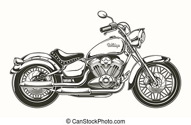motorcycle., vendemmia, hand-drawn, chopper., classico