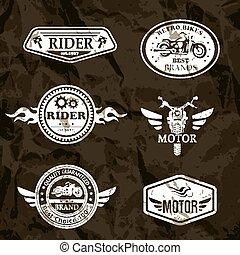 motorcycle vintage labels, set of emblems