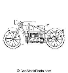 Motorcycle vintage vector motorbike illustration motor design retro bike