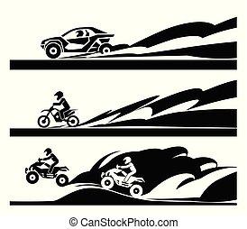 motorcycle., voiture, de-route, courses