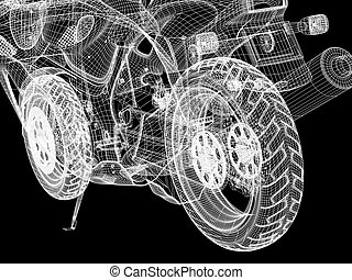 Motorcycle wheel - 3d bike model. 3d illustration over black...