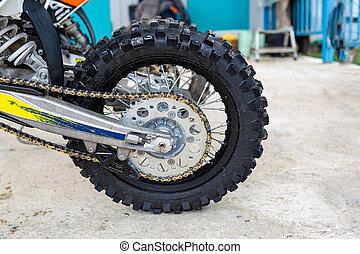 motorcycle wheel close up