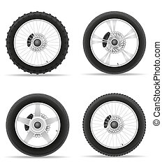 motorcycle wheel tire from the disk set icons illustration...