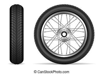 Motorcycle wheels vector set