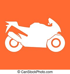 Motorcycle white color icon .