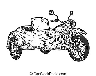 Motorcycle with a sidecar. Engraving vector illustration. Sketch scratch board imitation. Black and white.