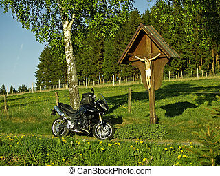 motorcycle with cross