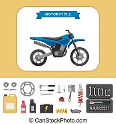 Motorcycle with parts in flat style.