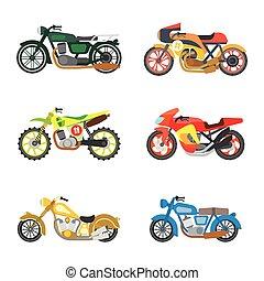 motorcycles., 平ら, ベクトル, セット