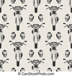 Motorcycles and moto seamless pattern