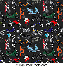 Motorcycles background, pattern. Vector illustration