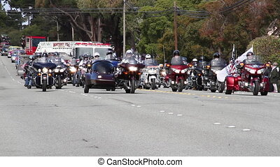 motorcycles in parade