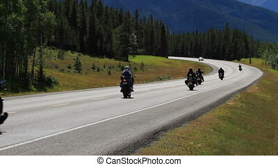 Motorcycles on highway - Motorcycle riding on highway