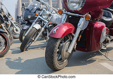 Motorcycles on parking in the city