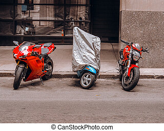 Motorcycles on the street