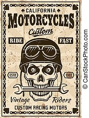 Motorcycles poster with skull in helmet