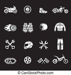 Motorcycles racing icons. Motosport symbols.