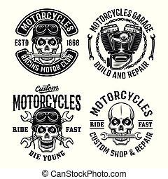 Motorcycles set vector emblems, labels or badges