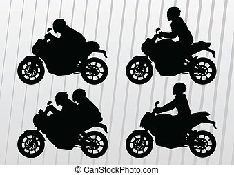 Motorcycles silhouettes illustration vector