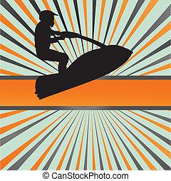 motorcycles, straalvliegtuig, barsten, water, vector, achtergrond, sportende, ski