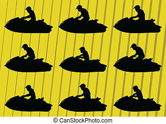 motorcycles, straalvliegtuig, illustratie, water, silhouettes, sportende, ski