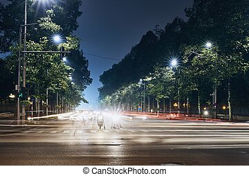 Light trails of traffic in city