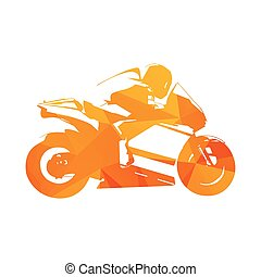 Motorcycling. Motorcycle road racing, abstract orange vector illustration. Motorbike
