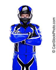 Motorcyclist biker in dark blue equipment on white...